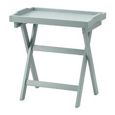 IKEA - MARYD, Mesa/bandeja, verde, , Pliega la mesa cuando no la necesites.La bandeja extraíble también se puede utilizar para servir.La bandeja tiene el borde muy ancho y los laterales altos para que sea fácil de llevar y el contenido no se caiga.