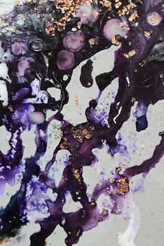 TITLE: Lava  Original handmade painting by Helen Brook. DESCRIPTION: An fluid abstract painting, combining a grey spray paint background with white, purple and metallic tones, and a textured copper centre. The work is slightly textured with the heavy texture of the paint, special effects metallic paint and copper gilding flakes. Sides are spray painted along with the background. DIMENSIONS: 16 x 20 x 0.5 inches MATERIALS: Acrylic paints on canvas, stretched on a wooden frame. My work is…