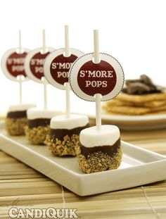 Easy S'more Pops - 2 Ways S'mores pops - what a great treat for sitting around the fire on a crisp autumn night while telling ghost stories. Yummy Treats, Delicious Desserts, Sweet Treats, Dessert Recipes, Yummy Food, Quick Dessert, Marshmallows, Fudge, Wedding Desserts