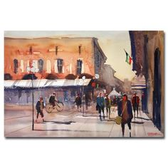 Trademark Art 'Shopping in Italy' by Ryan Radke Framed Painting Print on Wrapped Canvas Size: