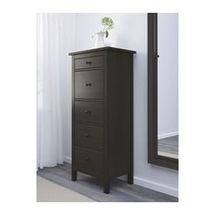 HEMNES 5-drawer chest - black-brown - IKEA