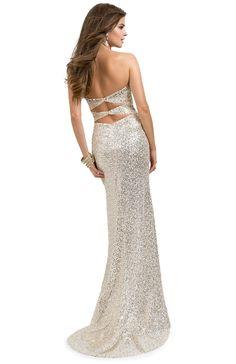Super Hot Dress = Sequins Sheath with Side Slit & Back Cut-outs   FLIRT