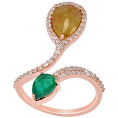 Beautiful Ice Diamond Emerald Gold Cocktail Ring  | From a unique collection of vintage cocktail rings at https://www.1stdibs.com/jewelry/rings/cocktail-rings/
