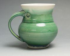 John Spiteri, Blue Parrot Pots, Colorado Il. Handmade porcelain coffee mug or tea cup jade green 14 oz 1487