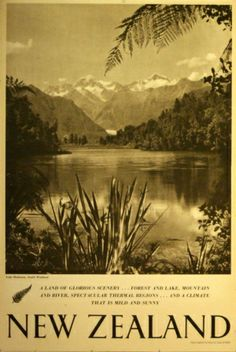 New Zealand Lake Matheson, 1951 - original vintage poster (one of a series) listed on AntikBar.co.uk