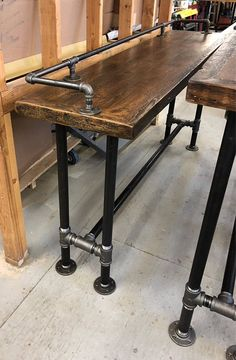 Reclaimed Wood industrial Bar table, Sofa table, Man Cave ,Console table, Pipe Legs and pipe rail Wood Bar Top, Wood Bar Table, Diy Table, Table Stools, Bar Tables, Steel Table, Industrial Design Furniture, Pipe Furniture, Industrial Table