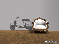 El vinilo Scooter Vespa Lambreta es, desde que proliferaron los vinilos decorativos un modelo que no puede faltar. La moto Vespa empezó a verse por nuestras carreteras en los años 50 y su diseño es tan bonito que aún hoy en día puedes verlas en la calle. Para amantes del motor de dos ruedas, moteros y de tendencias retro o vintage.