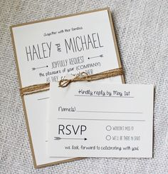 Rustic Wedding Invitation Modern Rustic Chic by LoveofCreating