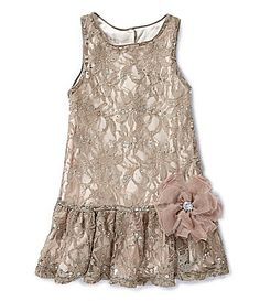 Pippa and Julie 2T6X SequinEmbellished Lace DropWaist Dress #Dillards