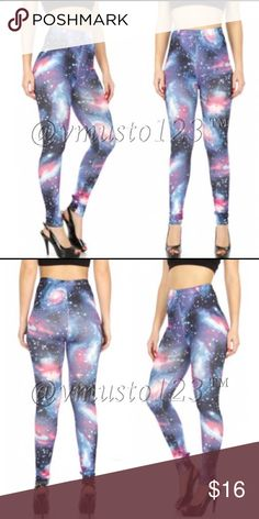 Trendy Galaxy Leggings These mega soft and super ON TREND galaxy leggings are a must have. Sold out everywhere but you can get them here. I only have 4 pairs. The waist is very stretchy and comfortable. Sits mid rise. OSFM fits 2-8 comfortably. I have seen a model who is a 10 wear a pair but that I feel is absolute max. Please ask any questions. 95% poly, 5% spandex. Price is firm unless bundled. *This closet no longer accepts previous customer discounts as prices to stock are rising and…