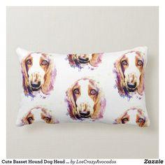 Cute Basset Hound Dog Head Face Puppy Lumbar Pillow