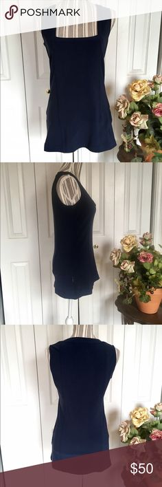 BOSTON PROPER Tennis 🎾 Dress This Boston Proper tennis dress is deep navy blue nylon spandex with a square neck.   Size S, measures 17 inches pit to pit and is 27 inches long with side vents. Stretchy fabric.  Like new condition. No pilling, holes, snags or stains.  Bundle discount in my closet 💕 Boston Proper Dresses