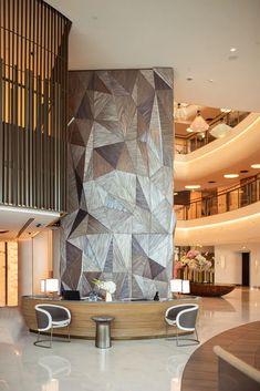 References   WOOD-SKIN Wood Cladding Interior, Interior Columns, Wall Cladding, Interior Walls, Interior Design, Interior Ideas, 3d Wall Panels, Wood Panel Walls, Wood Design