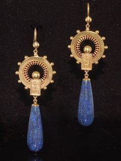 antique Victorian lapis lazuli earrings - Google Search