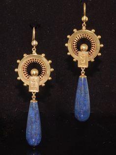 antique Victorian lapis lazuli earrings - Google Search