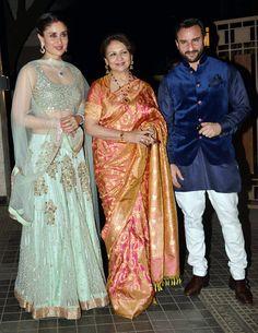Kareena Kapoor, Sharmila Tagore and Saif Ali Khan at Soha Ali Khan, Kunal Khemu's wedding reception. Indian Celebrities, Bollywood Celebrities, Bollywood Actress, Kareena Kapoor Photos, Kareena Kapoor Khan, Bollywood Stars, Bollywood Fashion, Indian Dresses, Indian Outfits
