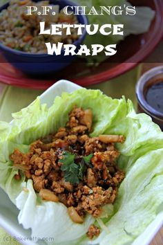 Copycat P. Chang's Chicken Lettuce Wraps A recipe for P. Chang's Chicken Lettuce Wraps. Why go out to eat when you can get the best of P. Chang's at home. Tacos Mexicanos, Great Recipes, Dinner Recipes, Chicken Wrap Recipes, Asian Chicken Wraps, Recipe Chicken, Asian Recipes, Healthy Recipes, Clean Eating