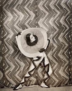 Pierrot-Éclair costume designed by Sonia Delaunay, on the set of René Le Somptier's film Le P'tit Parigot, c.1926. #art #artist #soniadelaunay