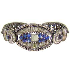 Black rhodium, yellow gold, diamond & sapphire bracelet