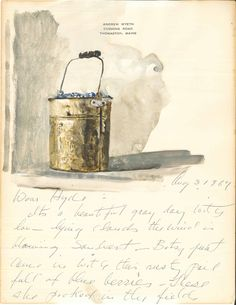 Pail of blueberries (study) by Andrew Wyeth Andrew Wyeth Art, Jamie Wyeth, Blueberry Season, Graphite Drawings, Watercolor Sketch, Beautiful Paintings, Artist At Work, Decoration, Great Artists