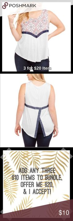 Embrodiered Sleeveless Peasant Top in White Sale! Price is firm unless 3 for $20 bundled. Stay stylish with this Embroidered Sleeveless Peasant Shirt. This versatile top is perfect for that day and night look. Pair with a bold necklace and heels for a night out or with jeans for a more laid back, urban style. The options are endless with this adorable top. This top is a staple piece and a must have in every fashionable lady's wardrobe. Also available in Plus size in Green and Purple. Faded…