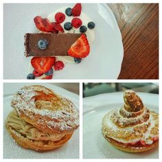 Chocolate tarte, Paris Brest, and Strawberry rhubarb tarte with meringue at @Brasserie_T #FMFinMontreal #Montreal #Dessert