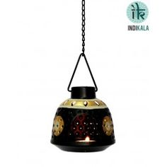 Black Hanging Tea Light Holder in Metal