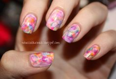 Watercolor nails tutorial by Rebecca Likes Nails.