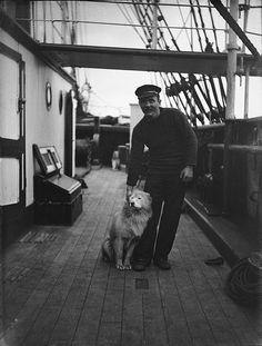 Mr. P. Anderson with dog Russ aboard the Scotia, c.1902