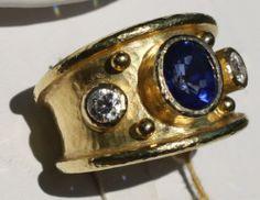Elizabeth Locke Sapphire Diamond Cigar Band Ring Sz 6 25 Mint | eBay