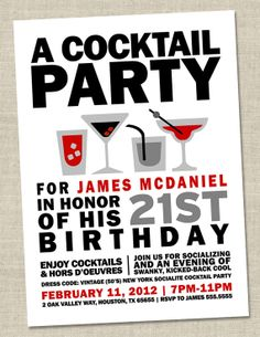 Cocktail Party Invitation  Retro Birthday Party by miragreetings, $14.00