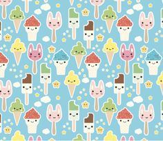 Spoonflower's Ice Cream fabric designed by Kimsa - printed on a variety of cotton fabrics - By the yard by Spoonflower on Etsy https://www.etsy.com/uk/listing/289621047/spoonflowers-ice-cream-fabric-designed