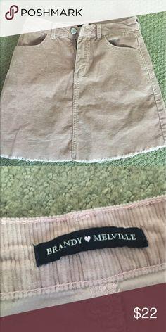 Pink brandy corduroy skirt Cute brandy light pink skirt, never worn! Super cute for summer! One size fits most Brandy Melville Skirts Mini