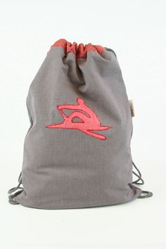 READY TO SHIP - Drawstring bag summer bag sports bag string bag - rowing, for rowers - red grey tiny checked by BagitBag on Etsy