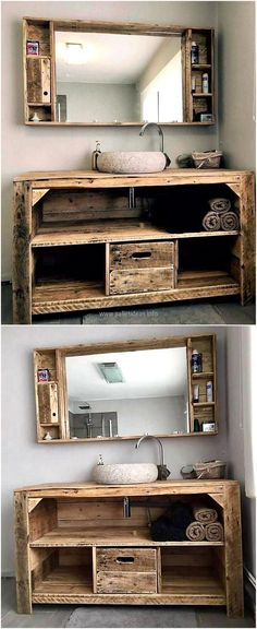 wood pallet sink and mirror (awesome for a rustic guest bathroom) J