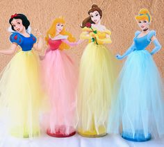 Princess Cinderella, Belle, Snow White, Sleeping Beauty Tutu Wood Centerpieces for Birthday Party