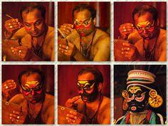 The transformation of a Kathakali dancer, Kochi, Kerala state, INDIA.