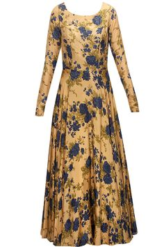 Earthy gold and blue floral printed embroidered anarkali set by Bhumika Sharma. Kurta Designs, Blouse Designs, Indian Attire, Indian Wear, Indian Designer Outfits, Designer Dresses, Indian Dresses, Indian Outfits, Plus Size Maxi Dresses