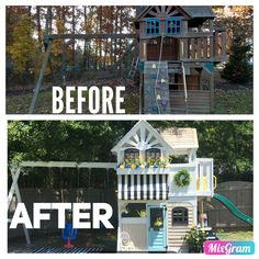 Emileigh's playhouse makeover. This was a lot of work but, totally worth it! Emileigh's playhouse makeover. This was a lot of work but, totally worth it! Backyard Playset, Backyard Playhouse, Wooden Playhouse, Backyard Playground, Backyard For Kids, Backyard Patio, Kids Playset Outdoor, Outdoor Play, Kids Play Spaces