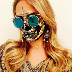 Is it just us or does this hippie-themed, studded skull mask give off major Coachella-meets-Burning Man vibes? Either way, the elaborate look is sure to impress your friends.