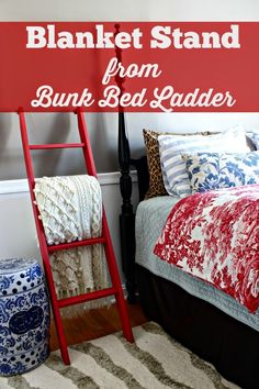 Turn a Bunk Bed Ladder into a Blanket Ladder, red paint gives a great pop of color