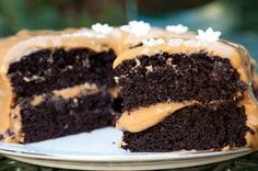 Dubbel sjokolade koek 150°C. Klits 3 eiers Giet 375 ml warm sterk koffie bo-oor 100g melksjokolade tot gesmelt Voeg 5ml vanieljegeursel by 375ml karringmelk Sif 750ml strooisuiker, 625ml meel, 375ml kakao, 10ml koeksoda, 10ml bakpoeier en 5ml sout. Voeg 180ml olie in 'n dun straaltjie by Voeg karringmelk, vanieljegeursel by en dan sjokolade-en-koffiemengsel. Skep droë bestanddele by bak 30 minute