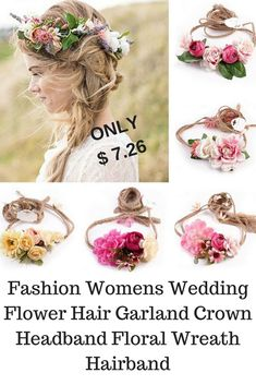 Fashion Womens Wedding Flower Hair Garland Crown Headband Floral Wreath Hairband www.pinterest.com/weddingnoosa Affiliate link purchases made through some pins may result in compensation at No cost to you Wedding Hair Flowers, Flower Hair, Hair Garland, Crown Headband, Floral Headbands, Wedding Hair Accessories, Wedding Thank You, Hair Band, Wedding Shoes