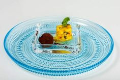 Handmade chocolate truffle and mango salsa presented on Iittala dishes. Handmade Chocolates, Mango Salsa, Chocolate Truffles, The Dish, Helsinki, Catering, Menu, Dishes, Food
