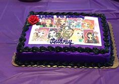 Ever After High Party- cake....I had to order an edible image off eBay bc nowhere else had Ever After High decorations.