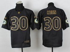 Green Bay Packers 30 John Kuhn Black 2014 PRO Gold lettering Jerseys