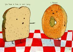 We think this cartoon is great. Do you love the holes in our #bagel crisps? newyorkstyle.com #cartoon #humor