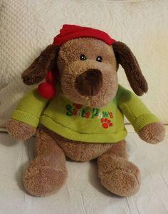 "DAN DEE 12"" SANTA PAWS PLUSH STUFFED PUPPY DOG RED CAP GREEN CHRISTMAS SWEATER #DanDee"