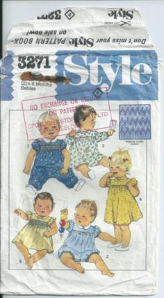 Babies-Romper-and-Dress-Smocking-Size-6-Months-Style-Pattern-3271-1983