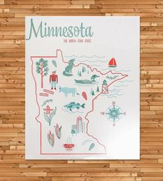 Vintage-Inspired Minnesota Map Print | This vintage-inspired map series is inspired by vintage tea to... |